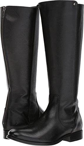 FRYE Women's Melissa Stud Back Zip Riding Boot, Black Smooth Vintage Leather, 6.5 M US