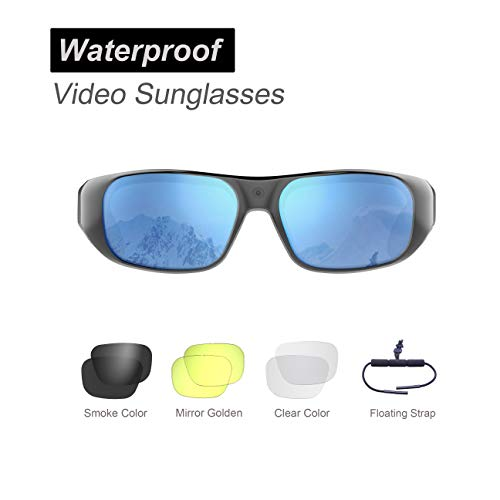 Waterproof Video Sunglasses,64GB Ultra 1080P HD Outdoor Sports Action Camera and 4 Sets Polarized UV400 Protection Safety Lenses,Unisex Sport ()