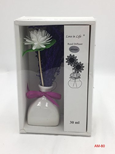 Smart Sense Ceramic Bottle Aromatherapy Essential Oil Set Natural Incense(Lavender) Reed Diffuser With Decorative Dried Flowers,Purple