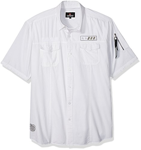 Cotton Utility Shirt Patch (Southpole Men's Short Sleeve Button Down Woven Shirt With Patches, White (Patch), Medium)