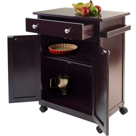 Small Dark Espresso Kitchen Cart Rolling Cabinet Drawer Wheels Wood Island Utility Microwave Stand