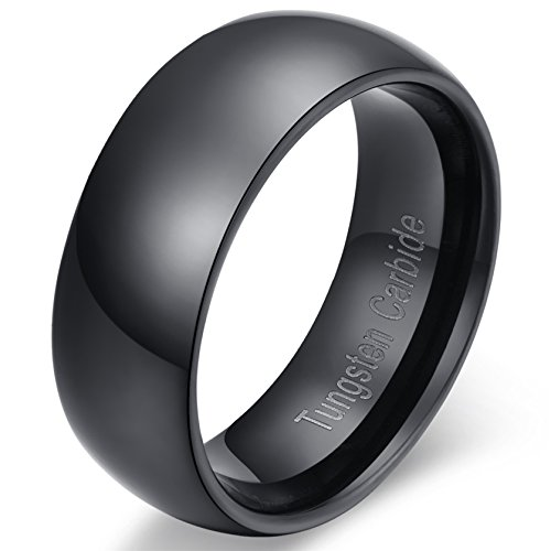 8mm Black Tungsten Carbide Wedding Band Ring Comfort Fit with High Polished Classy Domed Ring Sizes 7 to 13 ()