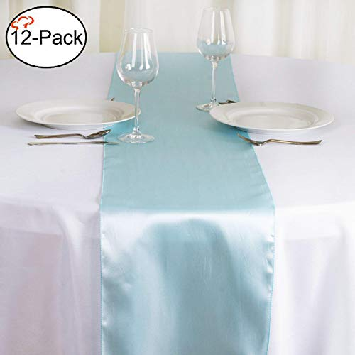 Tiger Chef 12-Pack Blue, 12 x 108 inches Long Satin Table Runner for Wedding, Table Runners fit Rectange and Round Table Decorations for Birthday Parties, Banquets, Graduations, Engagements