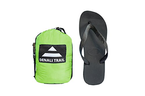 Denali Trail Ultralight Double Hammock with FREE Tree Straps. Best hammock for backpacking, travel, camping and backyard. (Light Green and Black)