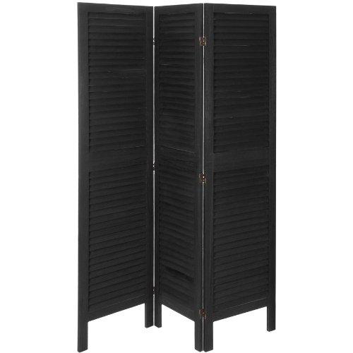 Oriental Furniture 5 1/2 ft. Tall Modern Venetian Room Divider - 3 Panels - Black (Venetian Screen 3 Panel)