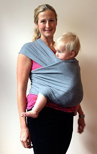 Baby Sling Carrier By Heart Felt (Grey) Perfect Baby Gift. One Size Fits All, Detailed Instructions Included. Comfortable, Soft Baby Carrier, Organic Cotton Ring Sling, Postpartum Belt, Nursing Cover, Best Baby Shower Gift - Better than Moby Wrap or Boba Wrap