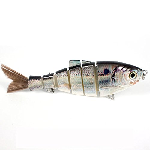 6/68g Shad Swimbait Multi-jointed 6-segement Fishing Lure Slow Sinking Hair Tail Crankbait Hard Bait Fish with Treble Hook Tackle for Bass Trout Perch