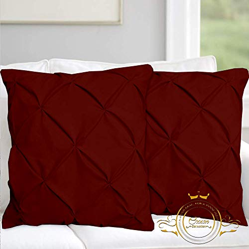 Burgundy Solid Pinch Pleated Pintuck Euro Pillow Shams Set of 2 - Hypoallergenic 500-TC 100% Egyptian Cotton Decorative Pintuck European Pillow Sham (Burgundy, Euro 26'' x 26'') (Burgundy Shams Pillow Euro)