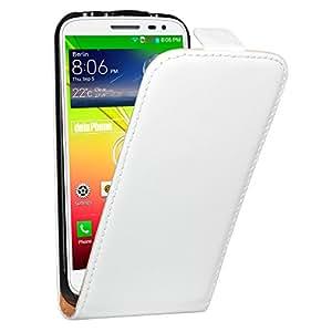 teléfono 3100005 LG G2 Mini premium de cuero genuino del Carcasa del tirón de la manga de la Funda blanca