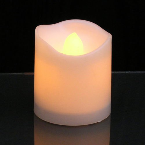 ELEOPTION Indoor Outdoor Flameless Resin Pillar Led Candle with Hour Timer (20, Melted Shape, 3 Inch)
