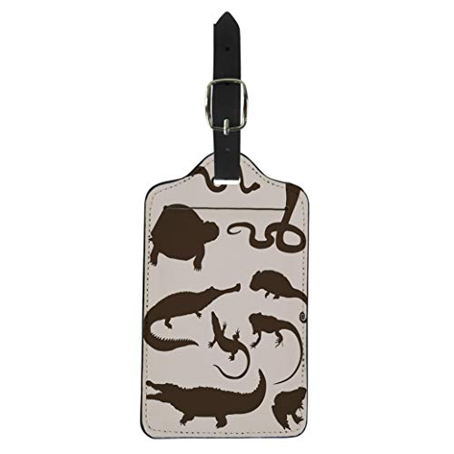 Crocodile Luggage Tag - Semtomn Luggage Tag Lizard of Reptiles and Amphibians Silhouettes Crocodile Snake Iguana Suitcase Baggage Label Travel Tag Labels