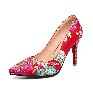 de recorre vestido púrpura aguja boda de Verano tacón Purple comodidad de zapatos que la seda mujeres flor Primavera de Talones bordado Otoño del de banquete las de rojo y noche Tnx4BwqgfA