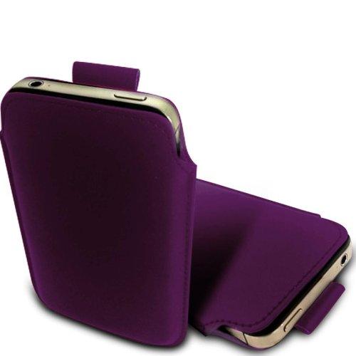 N E Fing Dark Purple PU leather pull tab case for Motorola Gleam Plus + (s)