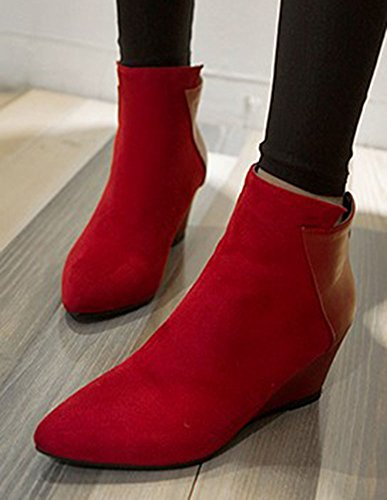 Easemax Womens Lightweight Solid Pointy Toe Flat Sole Back Zipper Wedge Heel Short Boots Red 1Lb4ue4VlQ