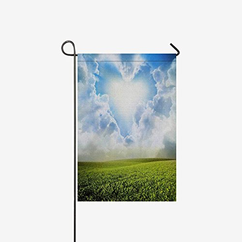 Funny Green Grass under Blue Sky with Heart Clouds Layer Garden Flag Home House Banner Decorative Flags Best for Party Yard Home Outdoor Decor 28