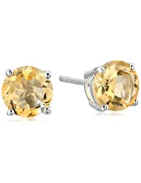 Sterling Silver 7 mm Gemstone Round Stud Earrings