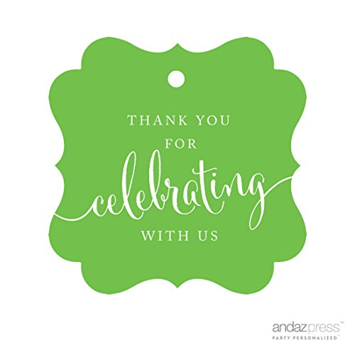 (Andaz Press Fancy Frame Gift Tags, Thank You For Celebrating With Us, Kiwi Green, 24-Pack, For Baby Bridal Wedding Shower, Kids 1st Sweet 16 Quinceanera Birthdays, Anniversary, Graduation, Baptism, Christening,)