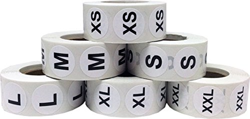InStockLabels XS-XXL Clothing Size Stickers 3/4 Inch 500 Stickers Per Size 3,000 Total Adhesive Stickers