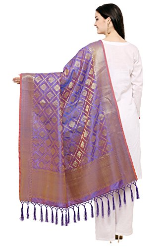 TMS Indian Bridal Wedding Pakistani Banarasi Women Woven Cotton Silk Veil Dupatta Stole Chunni Shawl Scarf (2.2 Meter X 39 Inch, Purple)