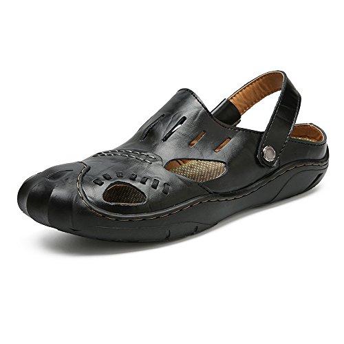 2018 Men Sandals, Men's Genuine Leather Breathable Beach Slippers Casual Breathable Leather Sandals Shoes Adjustable Backless,Perfect... Parent B07DN2LBP2 a0d75a