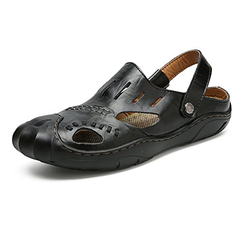 in EU vera Color pelle i antiscivolo velluto uomo Sandali BINODA Nero 44 tagliano chiusura in Dimensione chiusi spiaggia Pantofole che da Vamp da sandali con a Cachi P1p4Zq