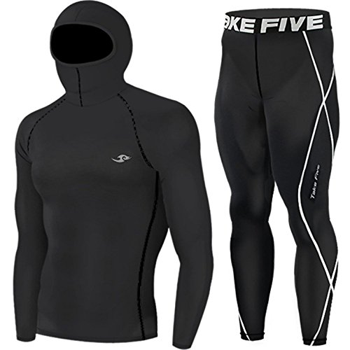 New Hoodie Mask Top & Pants Base Layer Black SET Mens Skin Tights Compression - Mens Cricket Hoodie