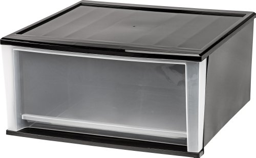 IRIS 51 Quart Stacking Drawer, 2 Pack, Black