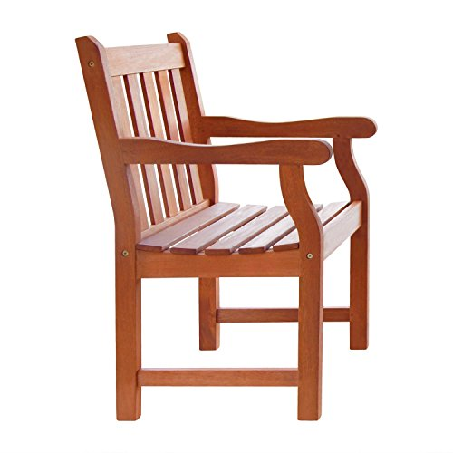Vifah V209 Outdoor Wood Arm Chair, Oiled Rubbed Finish, 23 By 23 By 35-inch