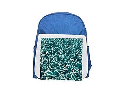 Piscina, piscina, agua, mochila azul estampada para niños, mochilas lindas, mochilas