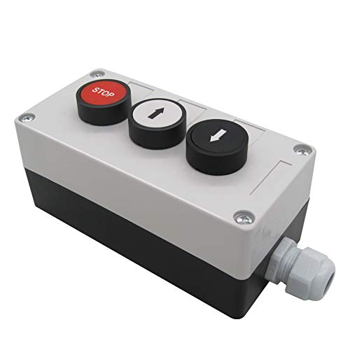 mxuteuk HZ-STSX 1 NO Black 1 NO White momentary Switch Control Up-Down,1NC Red Push Button Switch Momentary Switch Station Box Switch Pushbutton Switches ,1 Year Warranty
