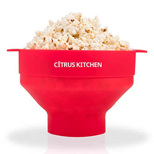 CitrusKitchen Microwave Popcorn Popper Popcorn Maker, Red, 7.5 inch diameter by 5 inches in height