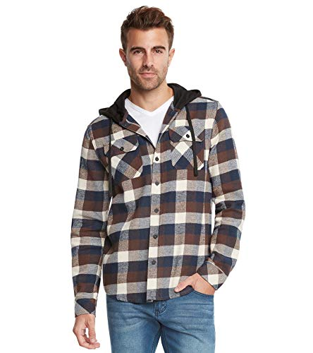 9 Crowns Men's Lightweight Hoodie Plaid Flannel Shirt-Brown/Blue-S ()