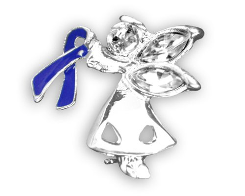 25 Pack Child Abuse Awareness Dark Blue Ribbon Angel Pins (Wholesale Pack - 25 Pins) Child Abuse Blue Ribbons