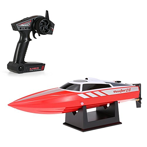 Costzon Vector28 2.4G RC High Speed 18 MPH (30 KM/H) Racing Boat RTR Radio with Remote Control for Pools& Lakes& Rivers, Best Gift for Kids& Adults, Boys& Girls (Red)
