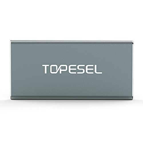 TOPESEL 60GB USB 3.0 Portable SSD High Read/Write Speed up to 300Mbps/420Mbps Aluminum Ultra Slim External Solid State Drive, Grey by TOPESEL