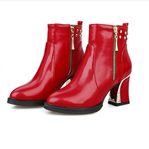 38 H rivetto bianco Beige con donne di resistente HQuattro Rosso stivali stagioni ginocchio corta gomma lato Nero non all'usura metallo red slip Zipple XIAOGANG robusto dIwSqzfd