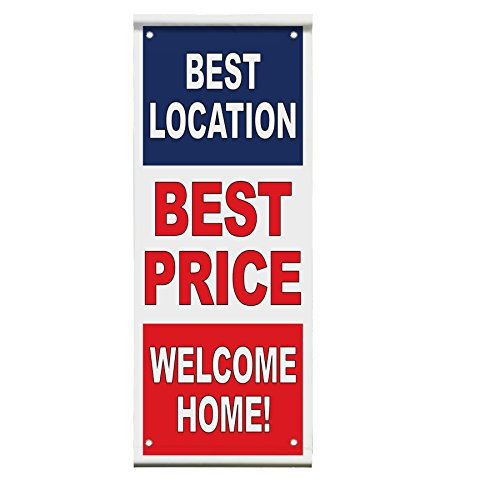 Best Location Best Price Welcome Home! Red White Double Sided Pole Banner Sign 36 in x 72 in w/ Pole Bracket by Fastasticdeals