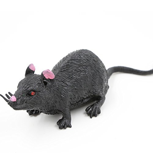 Rubber Mouse,Fake Rat Toy Gag(Black Mice),Food Grade Material TPR Super Stretchy,Zoo World Realistic Rat Toy Creepy Halloween Decoration Party Favors Practical Jokes Suqishy Novelty Toy by Zoo World]()