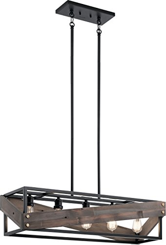 Kichler 44222BK Fulton Cross Reclaimed Wood Rustic Linear Chandelier Light, Black