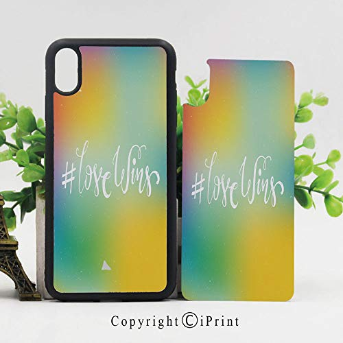 iPhone X Case,Romantic Hand Written Quote Abstract Backdrop LGBT Community Elements iPhone X Shockproof Protective Case TPU Bumper Compatible Apple iPhone X 5.8