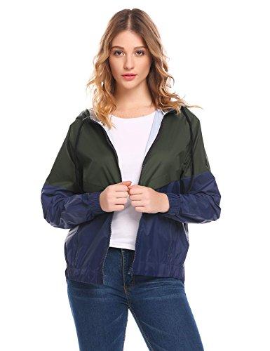 Sholdnut Womens Outdoor Pacthwork Drawstring Hooded High Low Windbreaker Jacket