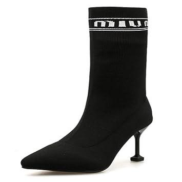 KUKI Botas De Mujer Otoño E Invierno Puntiagudo Botas De Tacón Alto Calcetines Botas De Punto