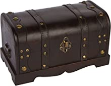 """Trademark Innovations 12"""" Wood Decorative Chest with Brass Accents"""