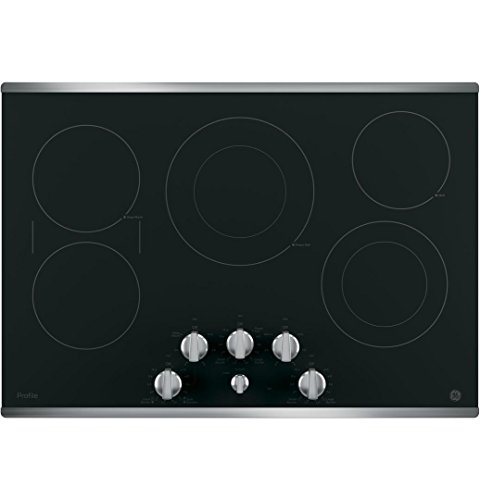 GE PP7030SJSS 30 Inch Electric Cooktop with 5 Radiant, Bridge SyncBurners, 9/6 Inch Power Boil Element, Keep Warm Setting, Red LED Backlit Knobs, ADA Compliant Fits Guarantee ()