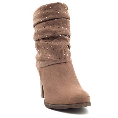 Strass Zapatillas Tacón Cm Flexible Moda Classic 8 Forrada Botines Alto Mujer Caqui Piel Ancho Talón Angkorly De Plantilla Hqdw0xSS