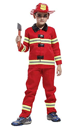 stylesilove Kid Boys Halloween Costume Cosplay Outfit Themed Birthdays Party (Little Fireman, XL/10-12 Years) -