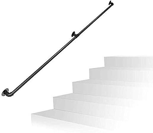 Pasamanos Escalera Negro Hierro Forjado Tubería Reposabrazos Escalera Pasamanos Barandilla de Seguridad Pasillo Habitación del Dormitorio Ático Viejo deshabilitado Durable Tubo Antideslizante: Amazon.es: Hogar