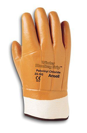 Size 10 Winter Monkey Grip Gloves - Orange Vinyl w/ Safety Cuff & Raised Finish (12/Pack) - R3-23-173 by Ansell