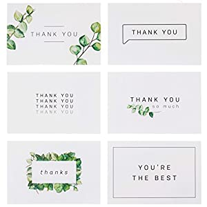 Blank Watercolor Thank You Cards: 36 Assorted Boxed Pack - Elegant Floral Green & Black & White Card Designs: Bulk Note Box for Graduation, Wedding, Bridal Party, Baby Shower, Men & Women Sympathy