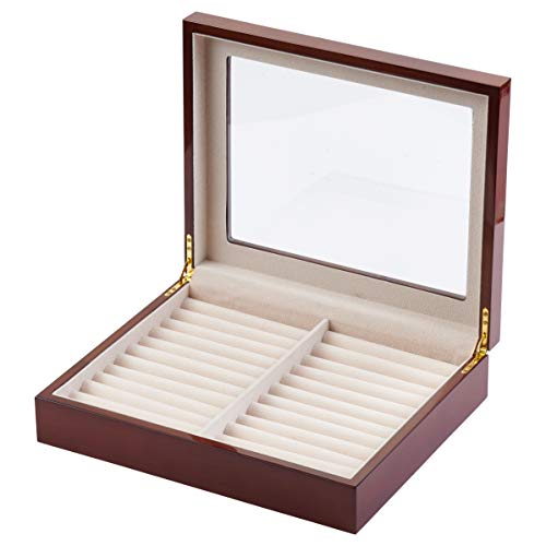 KeepMeCases Extra Large Wood Cufflink Box Holds 54 Pairs
